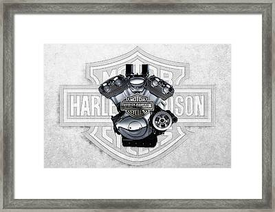 Framed Print featuring the digital art 2002 Harley-davidson Revolution Engine With 3d Badge  by Serge Averbukh