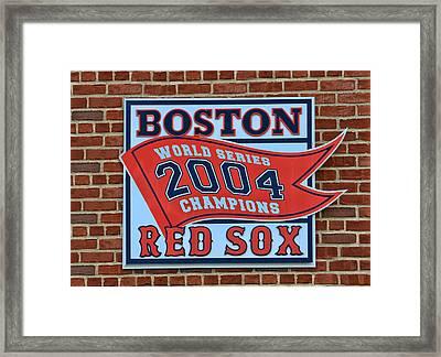 2004 World Series Plaque - Fenway Park Framed Print by Allen Beatty