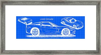 2006 Corvette Blueprint Series Framed Print