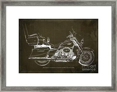 2006 Harley Davidson Cvo Ultra Classic Electra Glide Blueprint Brown Background Framed Print