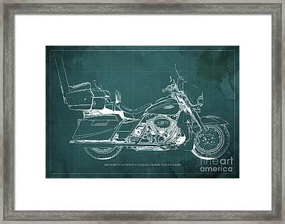 2006 Harley Davidson Cvo Ultra Classic Electra Glide Blueprint Green Background Framed Print by Pablo Franchi