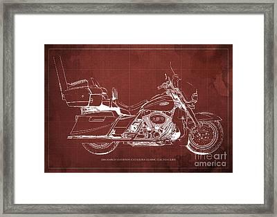 2006 Harley Davidson Cvo Ultra Classic Electra Glide Blueprint Red Background Framed Print by Pablo Franchi
