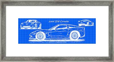 2006 Z06 Corvette Blueprint Series Framed Print