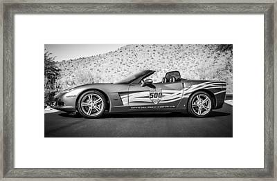2007 Chevrolet Corvette Indy Pace Car -0003bw2 Framed Print by Jill Reger
