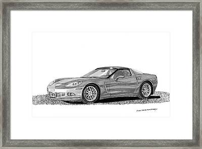 Framed Print featuring the painting  Corvette Roadster, Silver Ghost by Jack Pumphrey