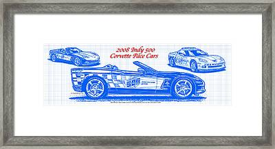 2008 Indy 500 Corvette Pace Car Blueprint Series Framed Print by K Scott Teeters