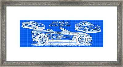 2008 Indy 500 Corvette Pace Cars Blueprint Series - Reversed Framed Print
