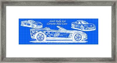 2008 Indy 500 Corvette Pace Cars Blueprint Series - Reversed Framed Print by K Scott Teeters