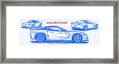 Framed Print featuring the drawing 2009 C6 Zr1 Corvette Blueprint by K Scott Teeters