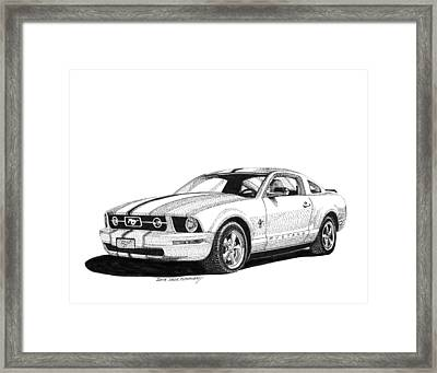 White Mustang Fastback Framed Print by Jack Pumphrey