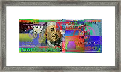 2009 Series Pop Art Colorized U. S. One Hundred Dollar Bill No. 1 Framed Print
