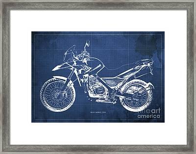 2010 Bmw G650gs Vintage Blueprint Blue Background Framed Print by Pablo Franchi