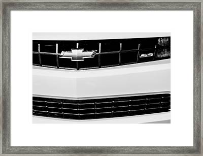 2010 Chevrolet Nickey Camaro Ss Grille Emblem -0078bw Framed Print by Jill Reger