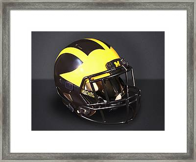 Framed Print featuring the photograph 2010s Wolverine Helmet by Michigan Helmet
