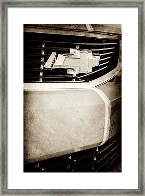 Framed Print featuring the photograph 2011 Chevrolet Camaro Grille Emblem -0321s by Jill Reger