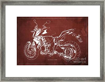 2011 Honda Cb1000r Classic Motorcycle Blueprint For Father's Day Red Background Framed Print
