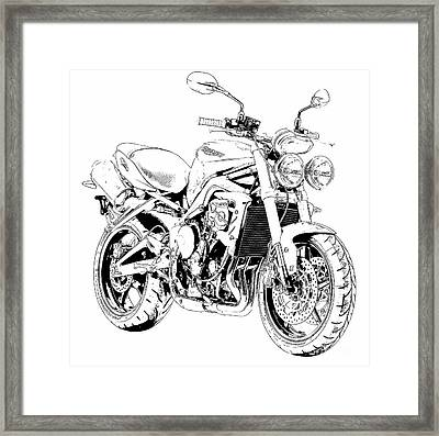 2011 Triumph Street Triple, Black And White Motorcycle Framed Print