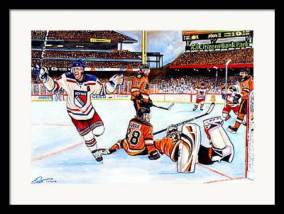 Nhl Hockey Drawings Framed Prints