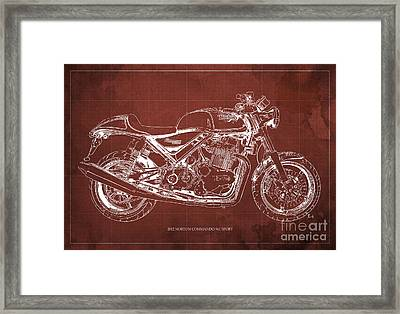 2012 Norton Commando 961 Sport Blueprint Classic Motorcycle Red Background Framed Print by Pablo Franchi