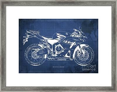2013 Honda Cbr600rr Blueprint, Blue Vintage Background, Gift For Him Framed Print by Pablo Franchi