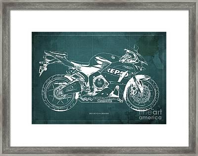 2013 Honda Cbr600rr Blueprint, Green Vintage Background, Gift For Him Framed Print by Pablo Franchi