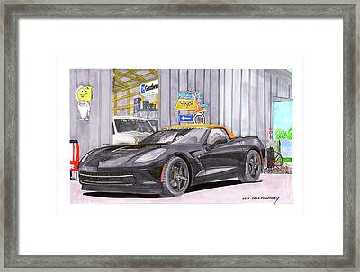 Framed Print featuring the painting 2014 Corvette And Man Cave Garage by Jack Pumphrey