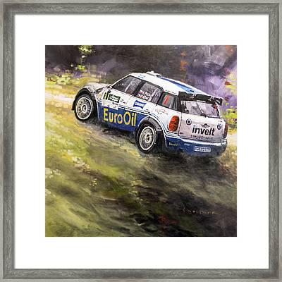 2014 Rallye Shumava Klatovy Mini John Cooper Works S200 Pech Uhel Framed Print by Yuriy Shevchuk