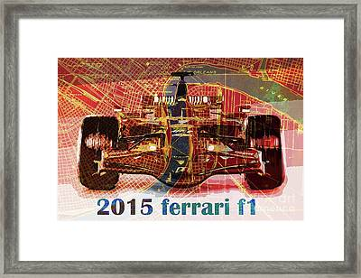 2015 Ferrari Formula 1 On New Orleans Old Map Framed Print by Pablo Franchi