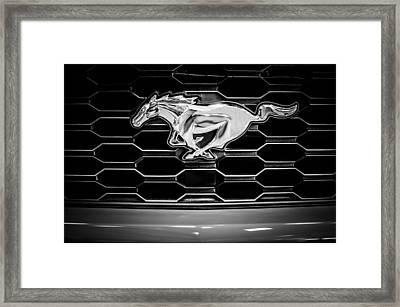 2015 Ford Mustang Grille Emblem -0104bw Framed Print by Jill Reger
