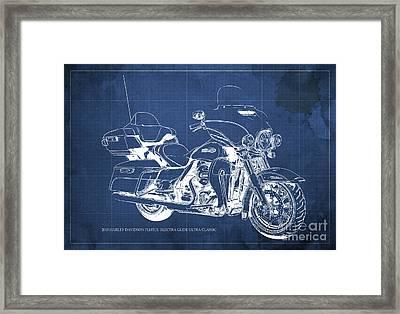 2015 Harley Davidson Flhtcu Electra Glide Ultra Classic Blueprint Blue Background Framed Print by Pablo Franchi