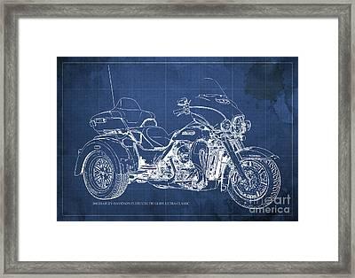 2015 Harley-davidson Flhtcutg Tri Glide Ultra Classic Blueprint Blue Background Framed Print by Pablo Franchi