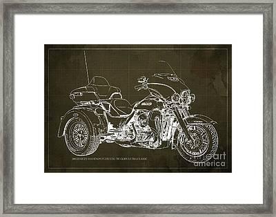 2015 Harley-davidson Flhtcutg Tri Glide Ultra Classic Blueprint Brown Background Framed Print by Pablo Franchi