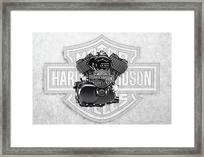 Framed Print featuring the digital art 2015 Harley-davidson Street-xg750 Engine With 3d Badge  by Serge Averbukh