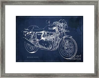 2015 Triumph Thruxton Blueprint Blue Background Framed Print