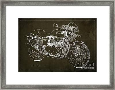2015 Triumph Thruxton Blueprint Brown Background Framed Print by Pablo Franchi