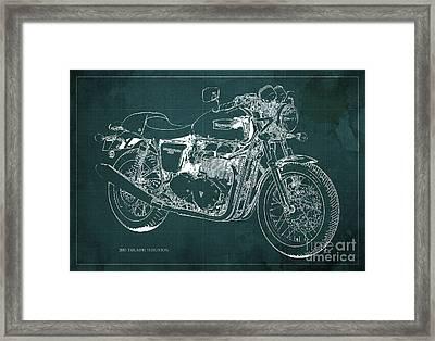 2015 Triumph Thruxton Blueprint Green Background Framed Print by Pablo Franchi