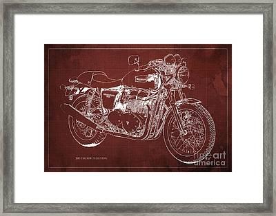 2015 Triumph Thruxton Blueprint Red Background Framed Print by Pablo Franchi