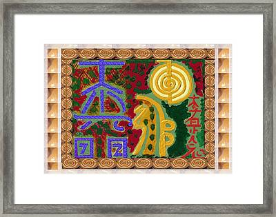 2015 Version Reiki Healing Symbols By Navin Joshi Framed Print by Navin Joshi