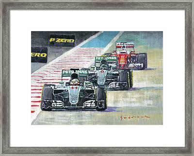2016 Abu Dhabi Gp Mercedes Hamiltom Rosberg Ferrari Vettel Framed Print