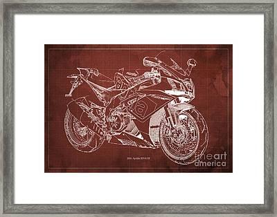2016 Aprilia Rsv4 Rf Motorcycle Blueprint, Red Background Framed Print by Pablo Franchi