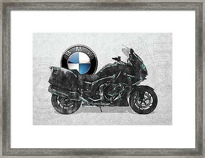 Framed Print featuring the digital art 2016 Bmw-k1600gt Motorcycle With 3d Badge Over Vintage Blueprint  by Serge Averbukh