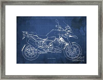 2016 Bmw R1200gs Blueprint Blue Background Framed Print by Pablo Franchi