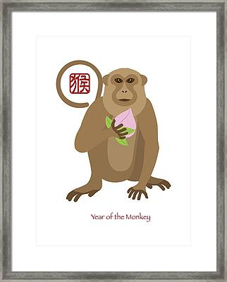 2016 Chinese Year Of The Monkey With Peach Framed Print by Jit Lim