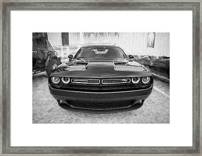 2016 Dodge Challenger Bw Framed Print