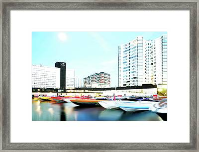 2016 Early Morning Poker Run Boats Overexposed And Massaged Framed Print