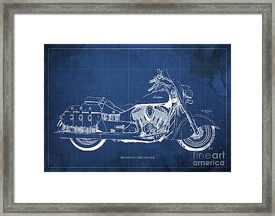 2016 Indian Chief Vintage Motorcycle Blueprint, Blue Background Framed Print