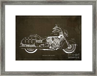 2016 Indian Chief Vintage Motorcycle Blueprint, Brown Background Framed Print