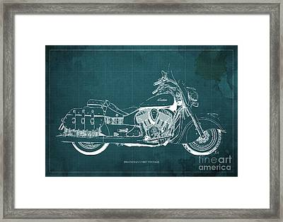 2016 Indian Chief Vintage Motorcycle Blueprint, Green Background. Gift For Men Framed Print by Pablo Franchi