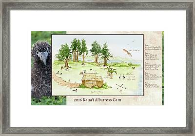 2016 Kauai Albatross Cam Map Framed Print by Elizabeth Smith