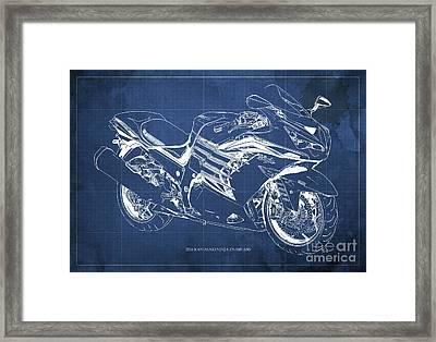 2016 Kawasaki Ninja Zx-14r Abs Blueprint Blue Background Framed Print by Pablo Franchi